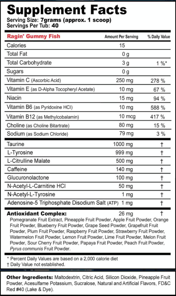 Gfuel Ragin Gummy Fish label
